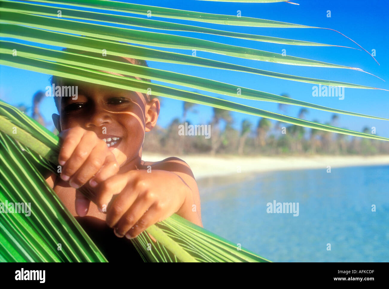 Young Fijian boy looking through palm frond Yasawa Islands Fiji South Pacific Ocean Model Released Image - Stock Image