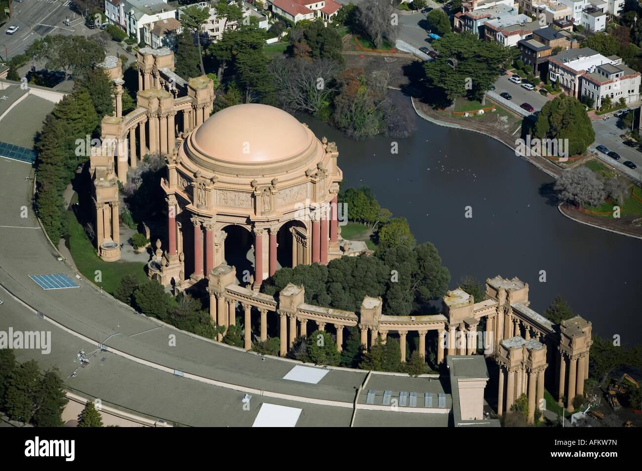 Aerial View Above Palace Of Fine Arts Exploratorium San Francisco