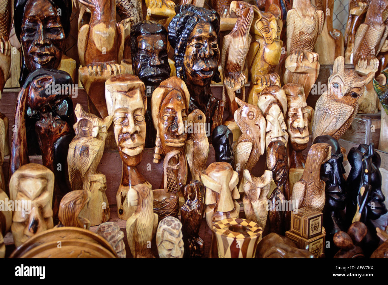 Carved wooden items for sale at teh straw market in nassau