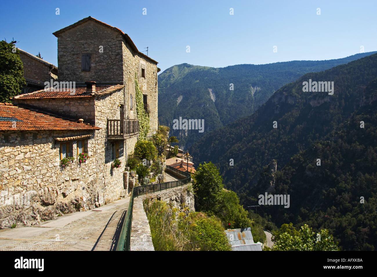 Remote hilltop village of Bairols, Alpes Maritimes, France - Stock Image