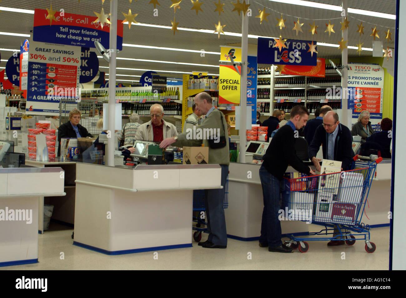 Alcohol Checkout Wine Shop at Cite Europe Calais France Europe Tesco StoreStock Photo