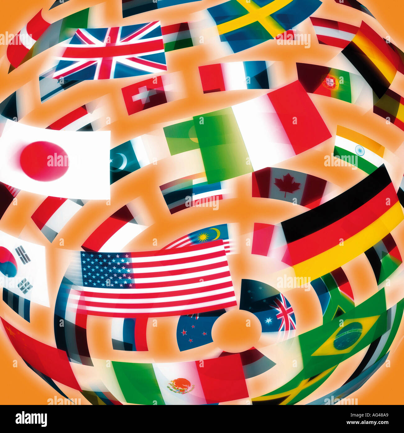 International Flags in the shape of a globe against an orange background. Flag World. - Stock Image