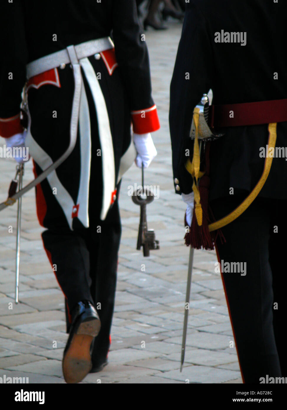 The Governor Of Gibraltar Holding The Keys To The Gates The Ceremony Of The Keys governor governor s ceremony ceremonial - Stock Image