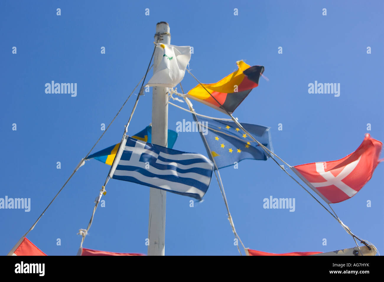 Stegna beach a former fishing village on the Mediteranean coast of Rhodes - Stock Image