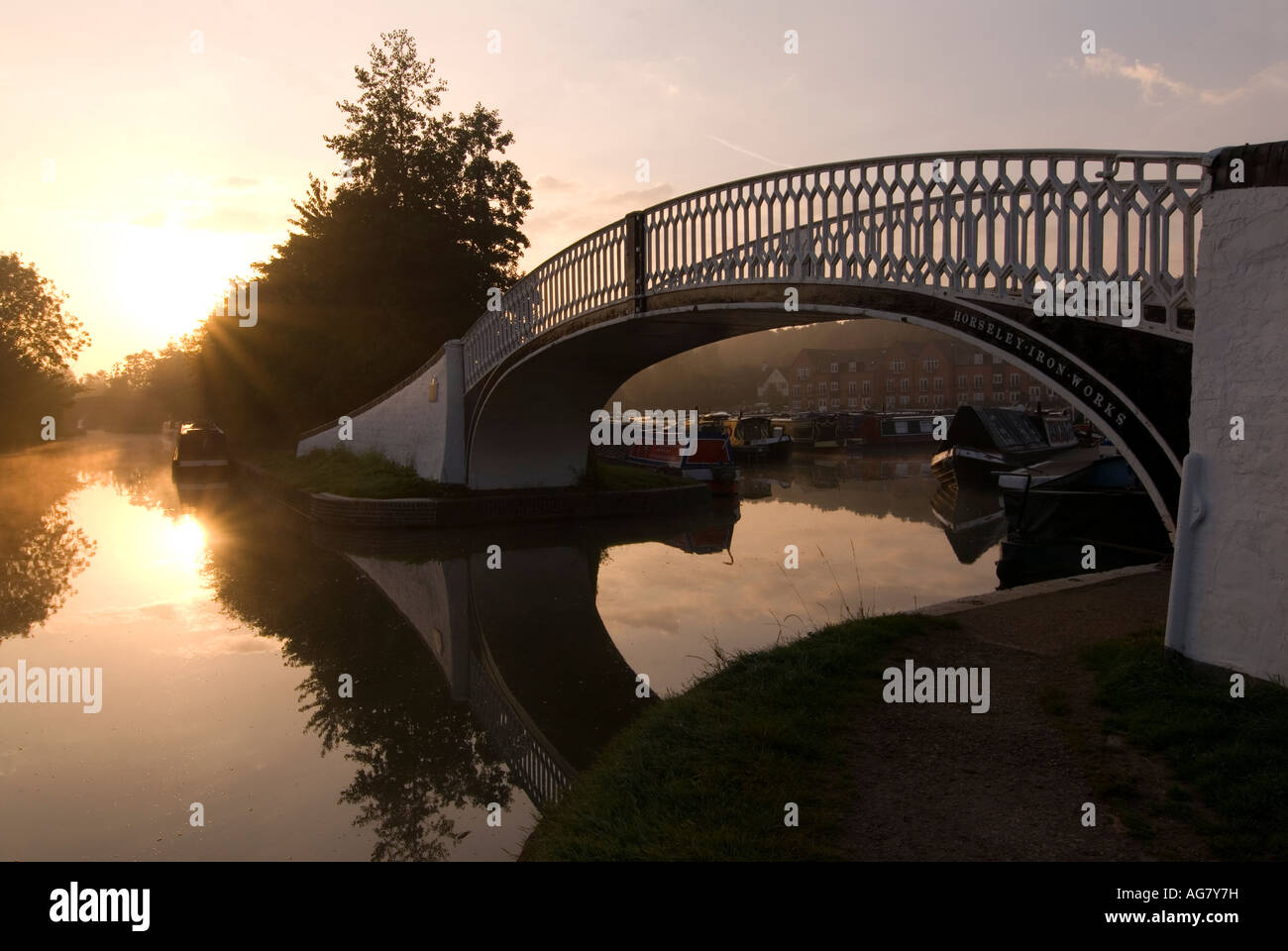 Doug Blane Braunston on the Grand Union Canal on a misty morning - Stock Image