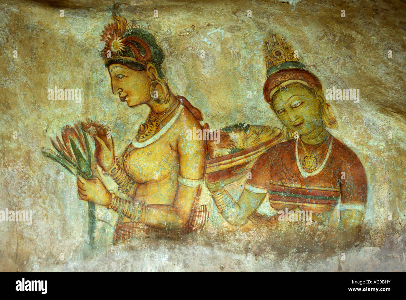 Sri Lanka Sigiriya Wall painting or fresco - Stock Image