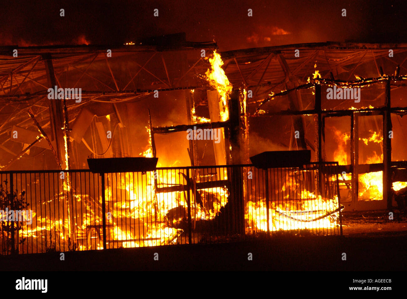 Blaze in progress which destroyed Rogerstone Primary School Newport Gwent Wales UK Stock Photo