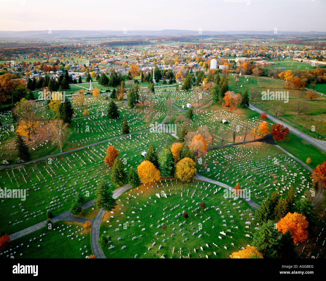 National & Evergreen Cemeteries From Observation Tower, Gettysburg National Military Park, Adams County, Pennsylvania, Stock Photo