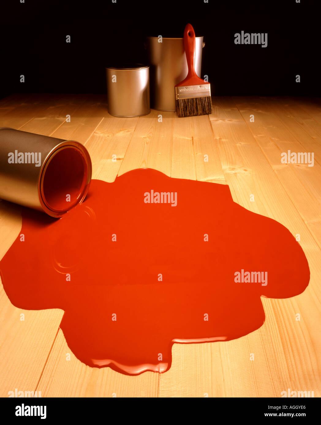 Spilt red paint - Stock Image