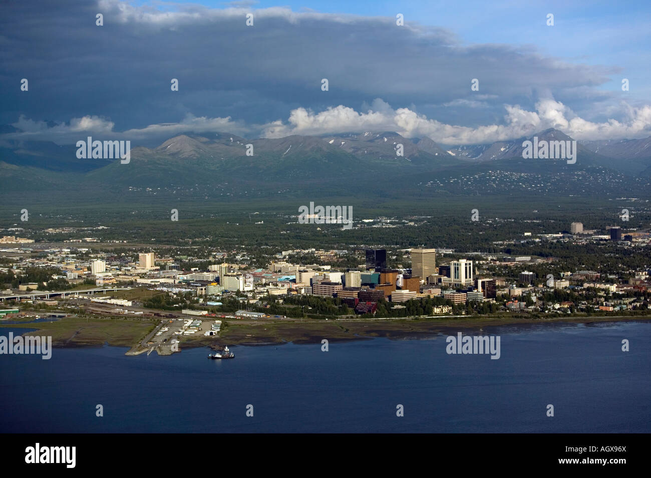 aerial above Anchorage, Alaska from the Cook Inlet - Stock Image
