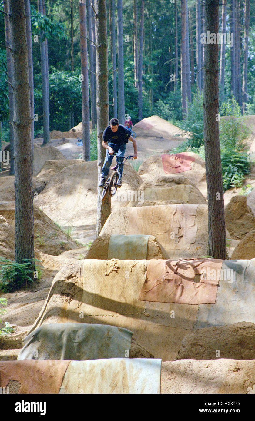 PICTURE CREDIT DOUG BLANE Mountain Biking at the bike park Brickhill Woods Wobrn Sands near Milton Keynes MK  near - Stock Image