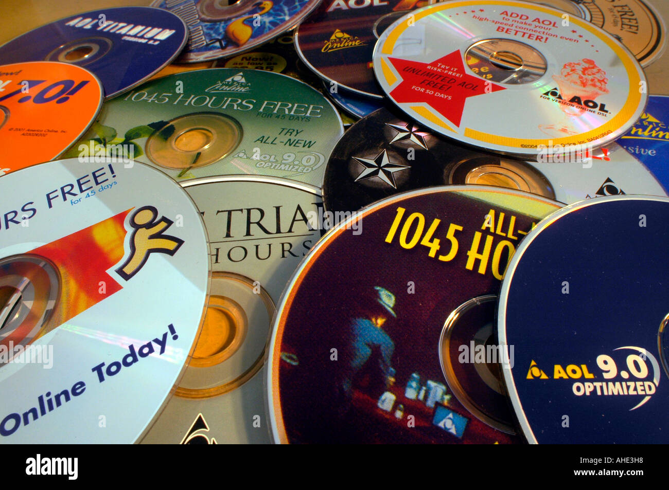 A collection of AOL cd roms Stock Photo