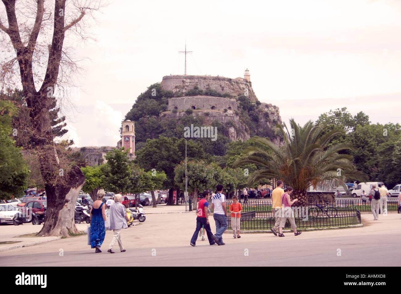 Spianada and Old Fortres, Kerkyra, Corfu, Greece, Europe, - Stock Image