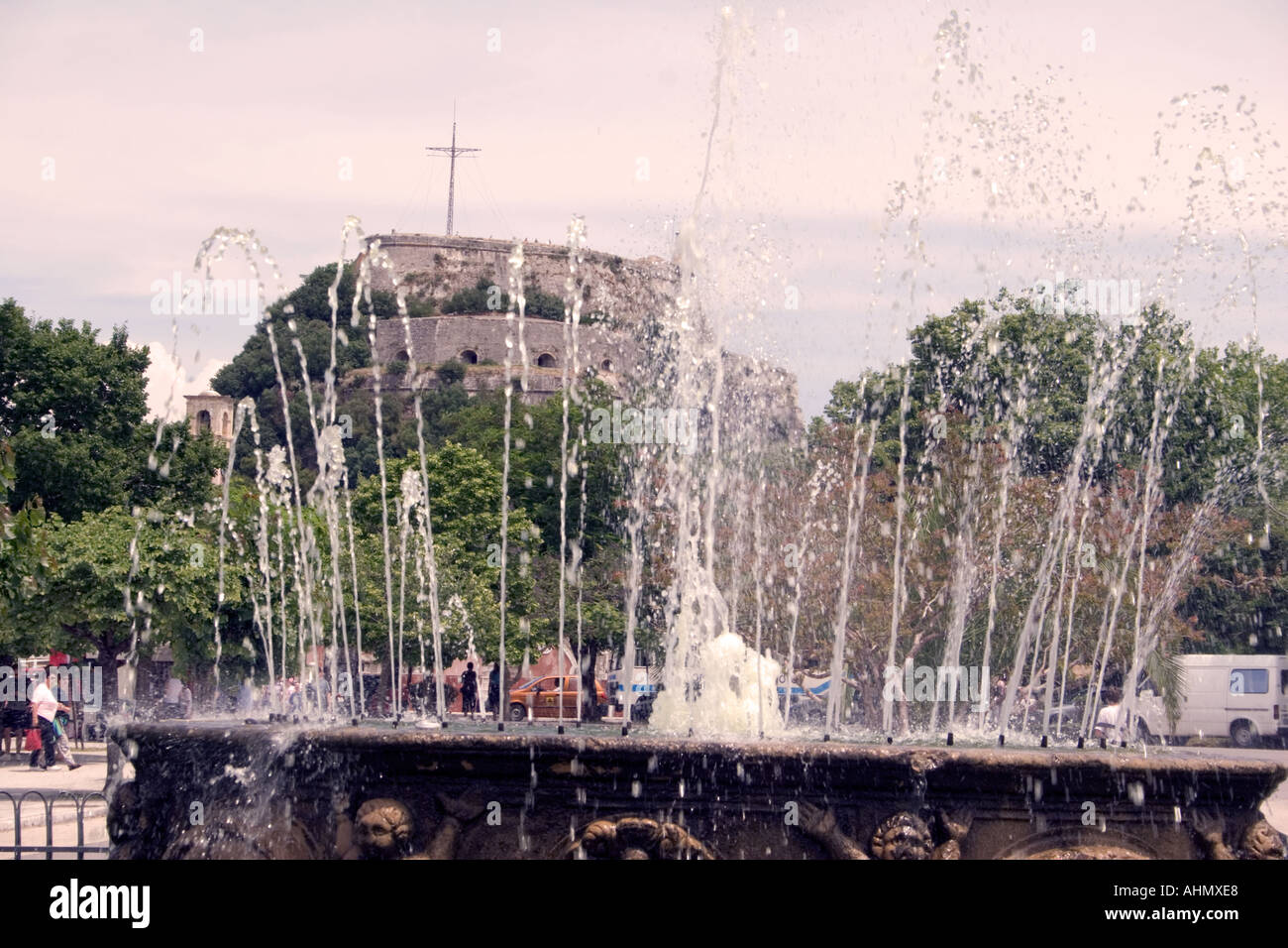Fountain in the Spianada in front of the Old Fortress, Kerkyra, Corfu, Greece - Stock Image