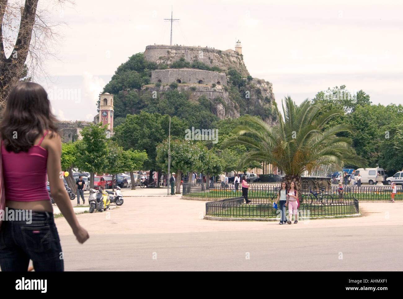 Spianada and Old Fortress, Kerkyra, Corfu, Greece, Europe, person people man woman child costume walk walking stroll - Stock Image