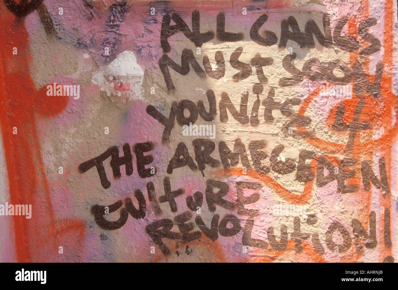 Gang Graffiti after riots South Central Los Angeles California - Stock Image