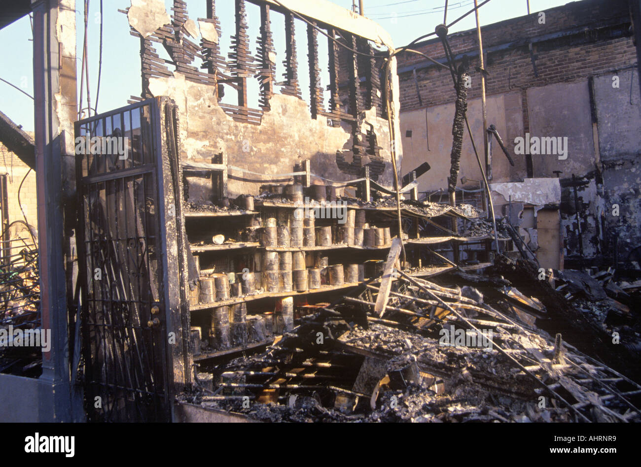 Hardware store burned out during 1992 riots South Central Los Angeles California - Stock Image