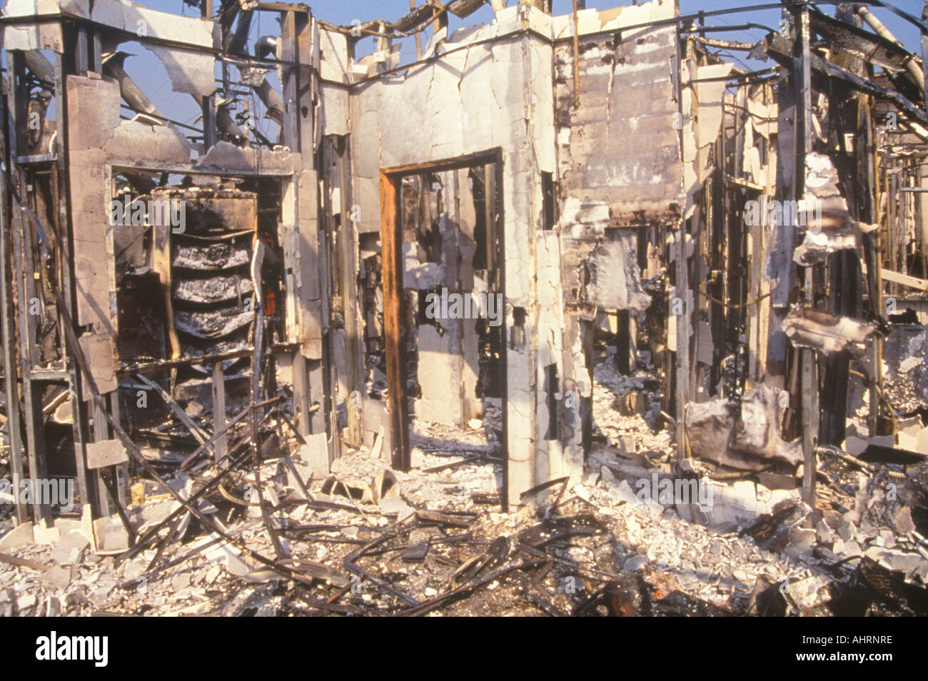 Interior of store burned out during 1992 riots South Central Los Angeles California - Stock Image