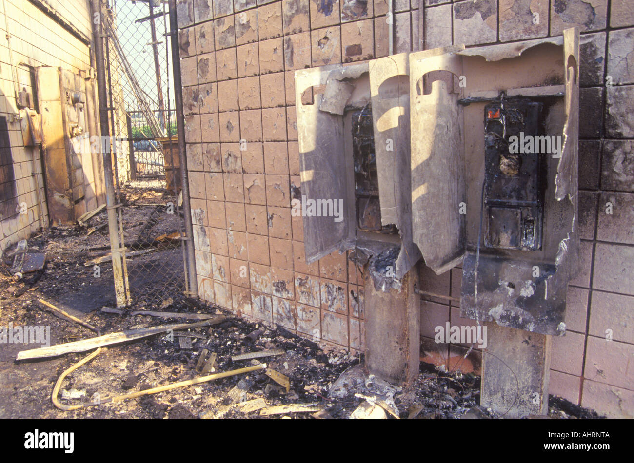 Gas station burned out during 1992 riots South Central Los Angeles California - Stock Image