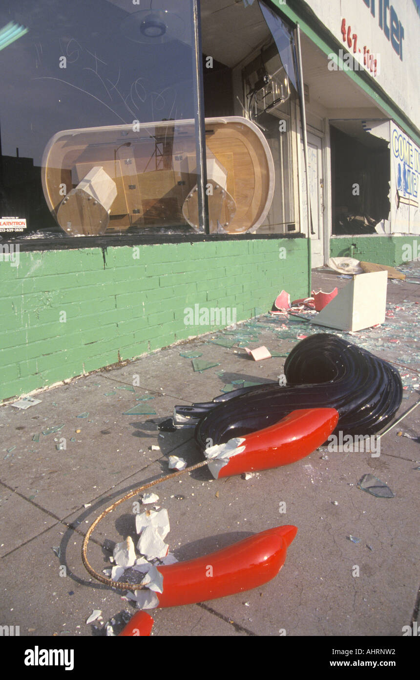 Store looted during 1992 riots South Central Los Angeles California - Stock Image