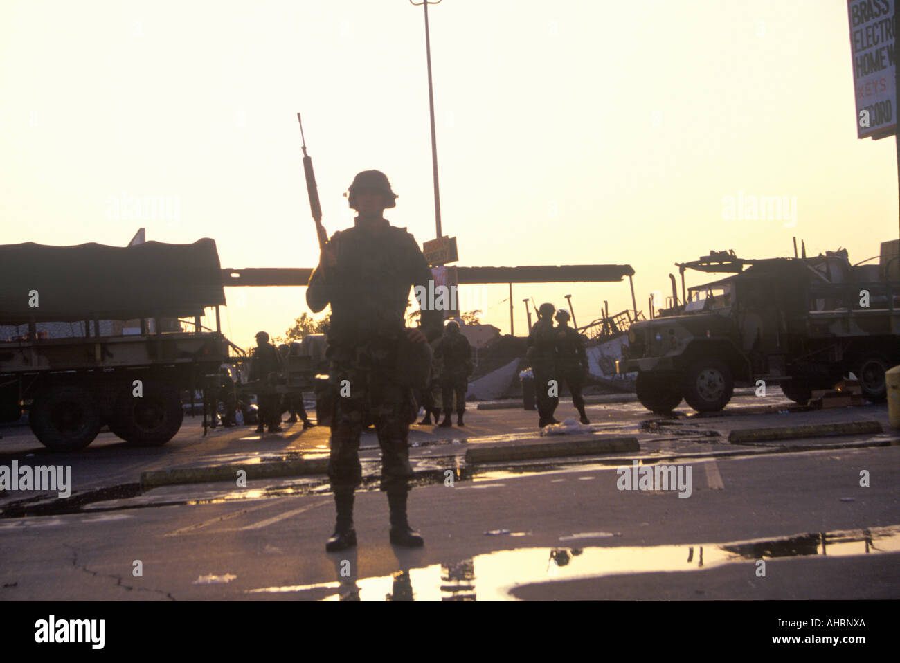 Silhouetted National Guard during 1992 riots South Central Los Angeles California - Stock Image