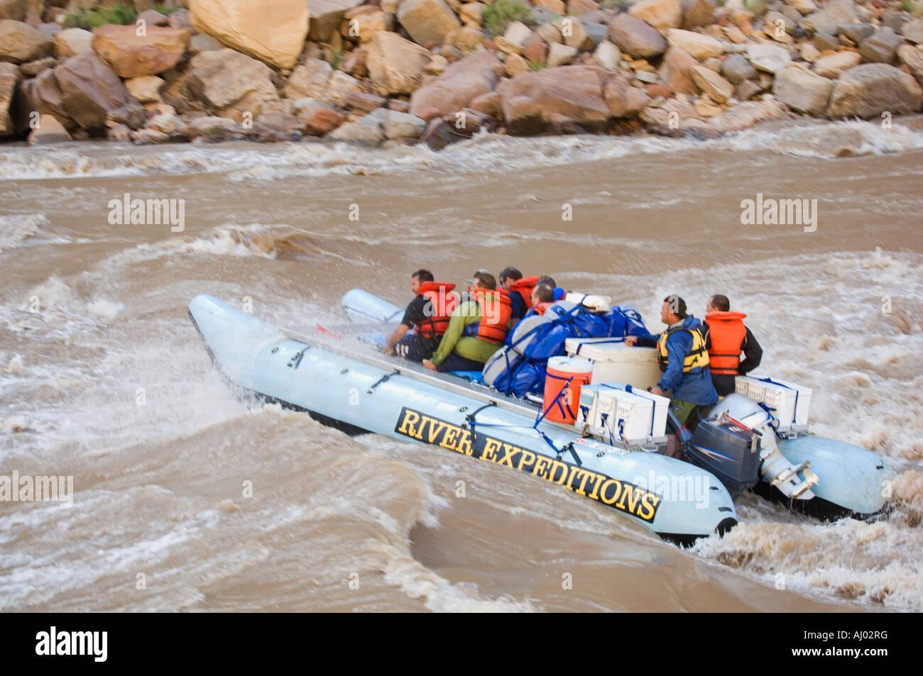 People on white water rafting tour, Colorado River, Moab, Utah, United States - Stock Image