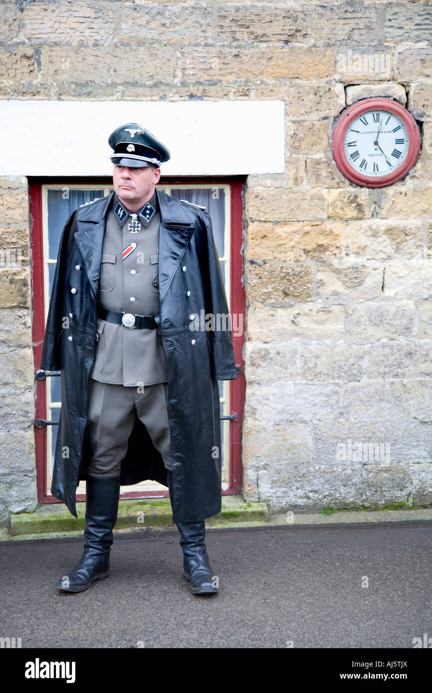 1940s SS Officer Nazis, World War Two German Army Officer Uniform - 20th Century Re-enactment groups Pickering 1940's Stock Photo