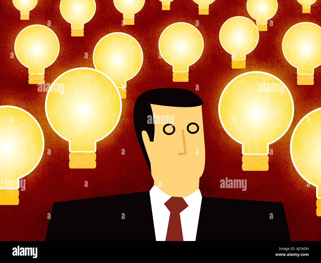Business Man with Ideas - Man with Light Bulb Stock Photo