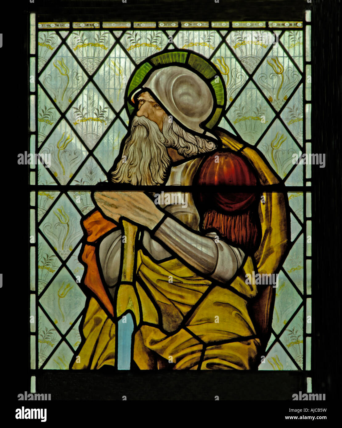 Abraham patriarch window (detail). Church of Saint Martin, Brampton, Cumbria, England, U.K., Europe. Stock Photo
