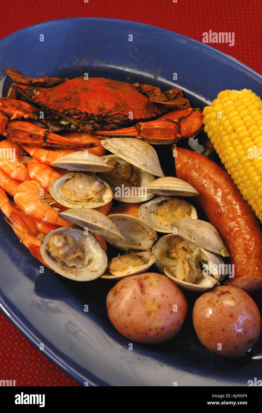 Seafood low country boil cedar key florida fl local cuisine foods - Stock Image
