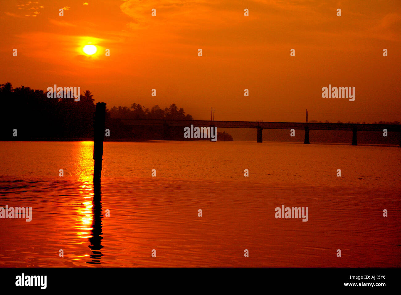 The yellowish glow of the rising sun, a morning view at Aluva, Kerala, India Stock Photo