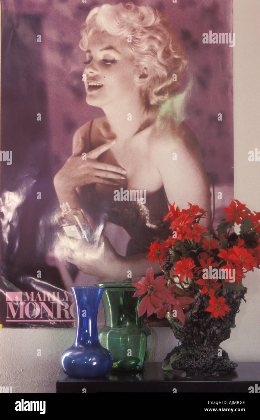 Marilyn Monroe poster at The Midnight Mission s thrift shop Los Angeles California United States of America - Stock Image