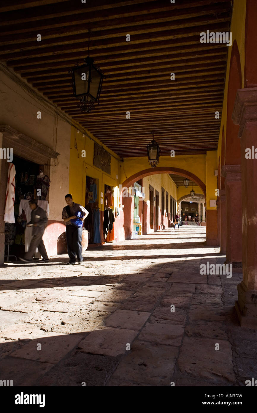 The cafes and shops surrounding Jardin Principal the main square of San Miguel de Allende Mexico - Stock Image