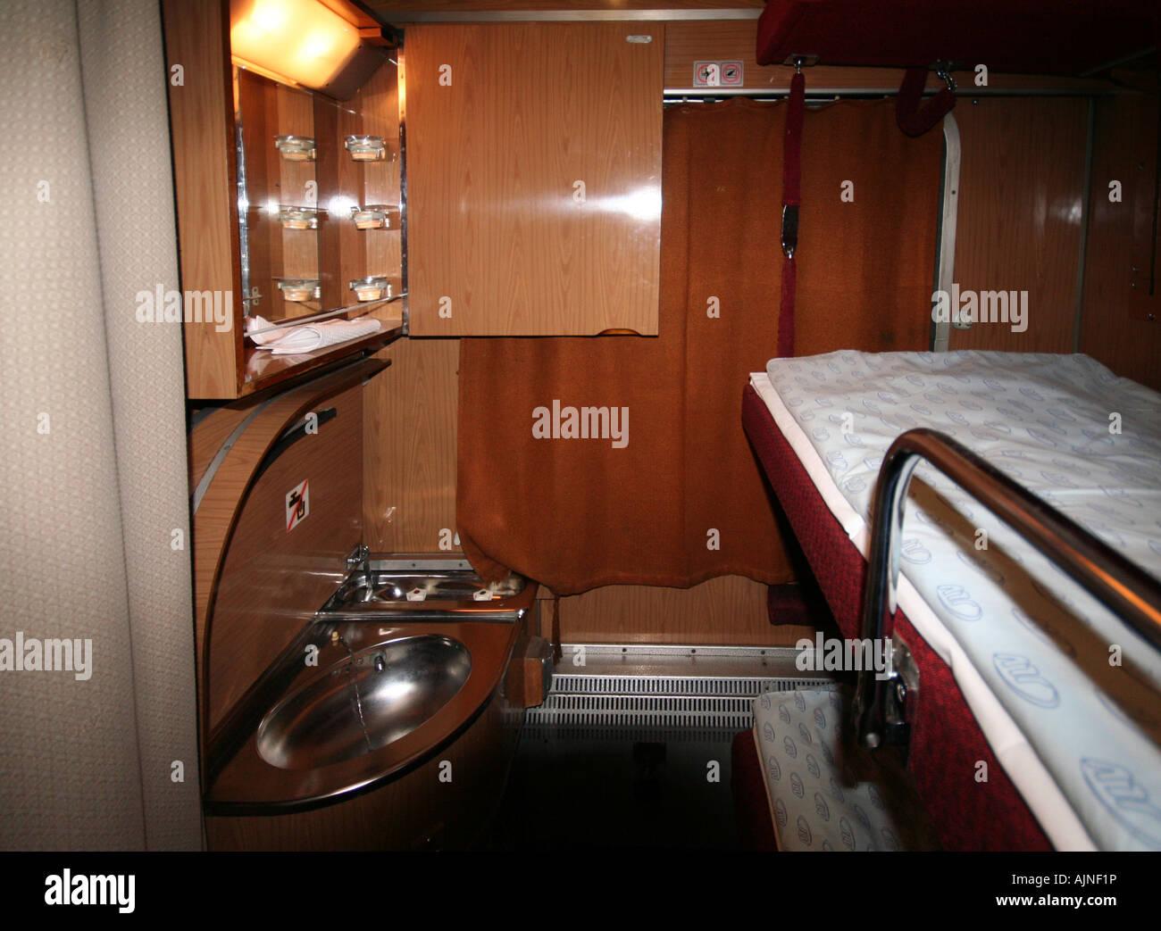 Bunk Beds Sleeper Carriage Prague To Krakow Overnight Train Stock