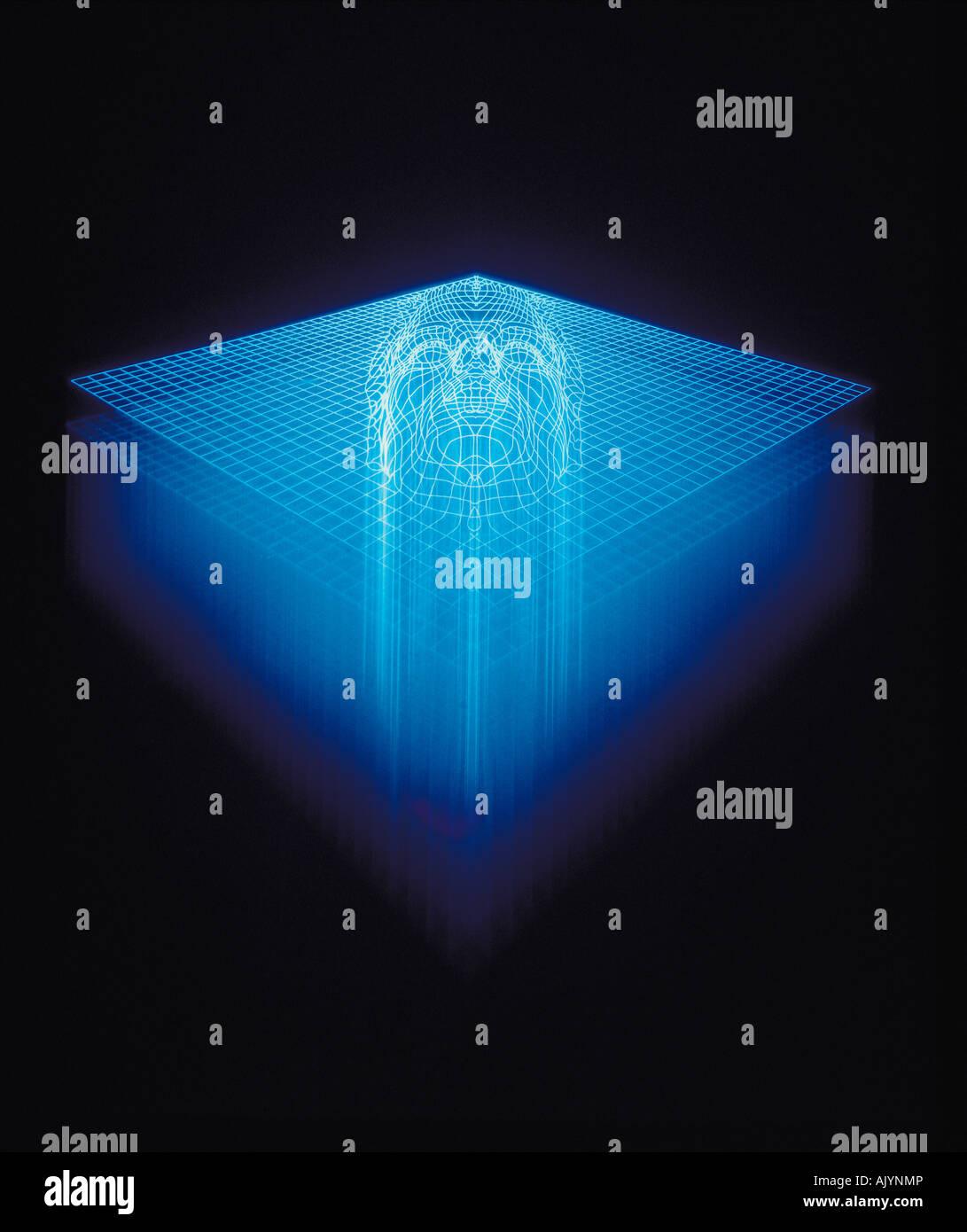 Artwork, Illustration, Concept, Face in blue grid pattern, - Stock Image