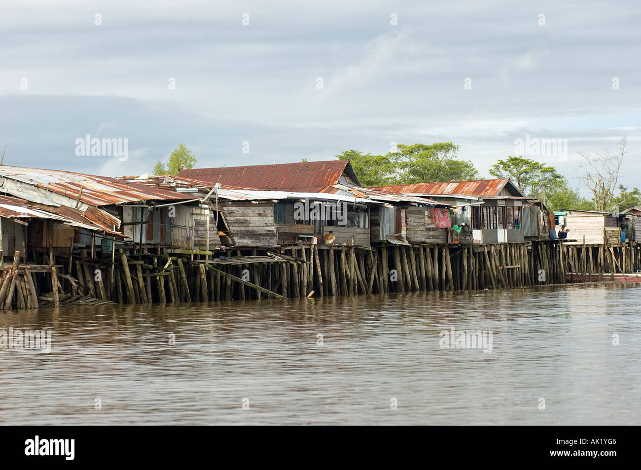 Agats town, enterance port to Irian Jaya, Indonesia. - Stock Image