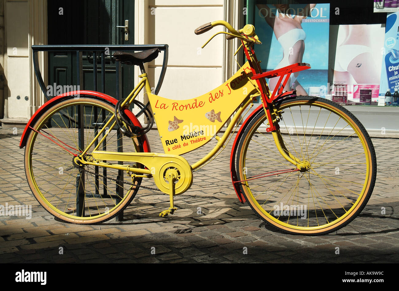 french advertising bicycle, loire valley, france - Stock Image