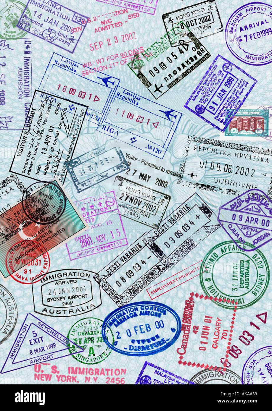 Passport Page Travel Immigration Visa Stamp Montage