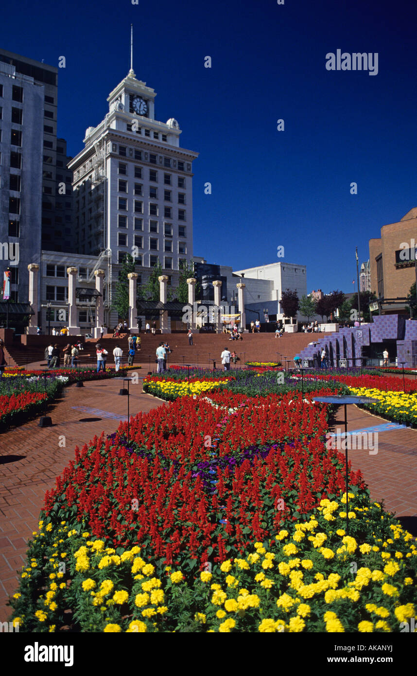 Festival of Flowers at Pioneer Couthouse Square rose festival downtown Portland Oregon State USA - Stock Image