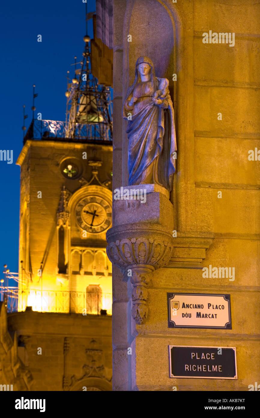 Place Richelme & Clock Tower, Aix-En-Provence, Provence, France - Stock Image