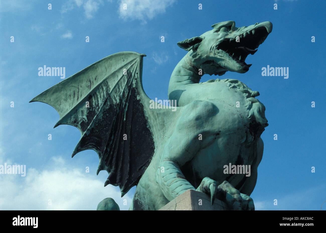Ljubljana, dragon statue - Stock Image