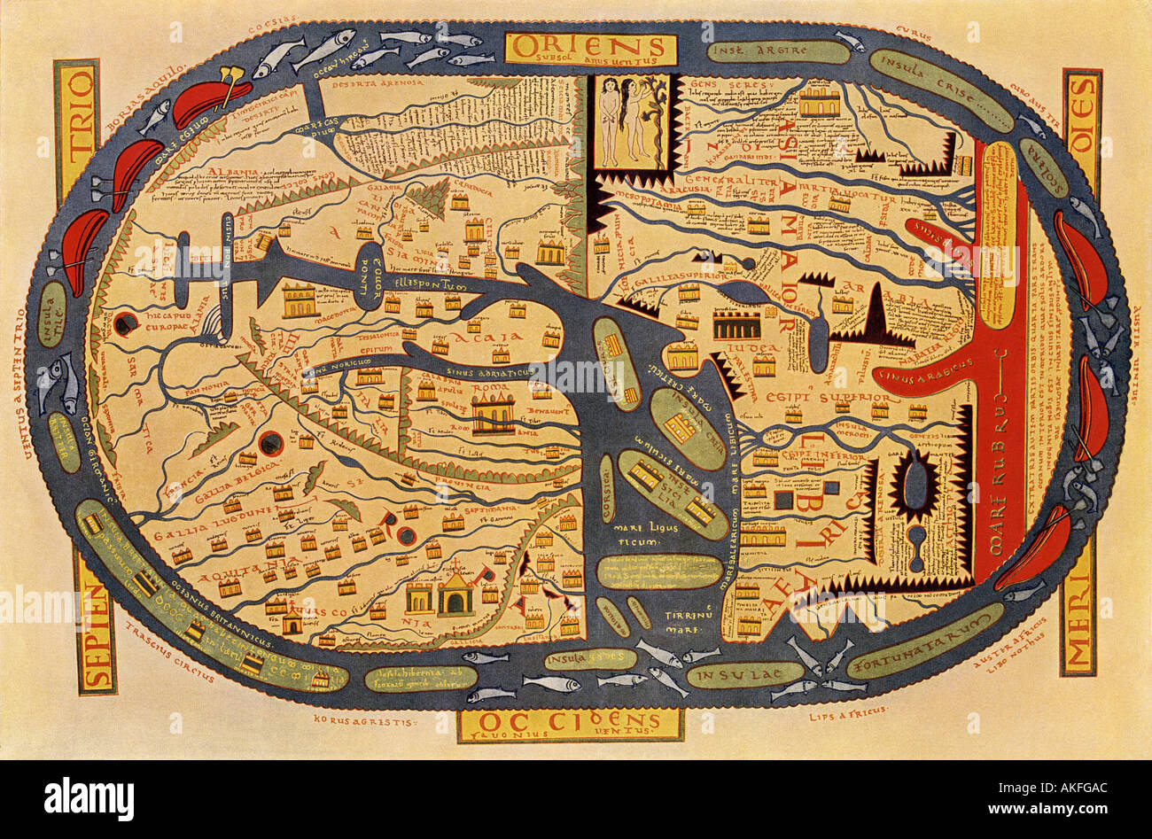World map of the flat earth printed by beatus rhenanus bildaus world map of the flat earth printed by beatus rhenanus bildaus rheinau early 1500s north is left mediterranean sea middle gumiabroncs Choice Image