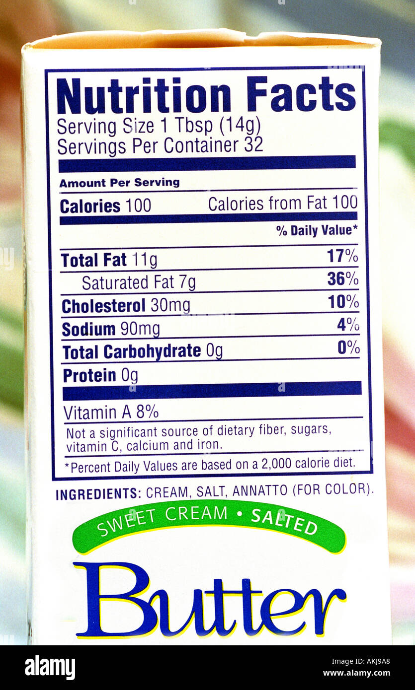 Food label on the side of products showing fat saturated fat cholesterol calories carbohydrates and serving size - Stock Image