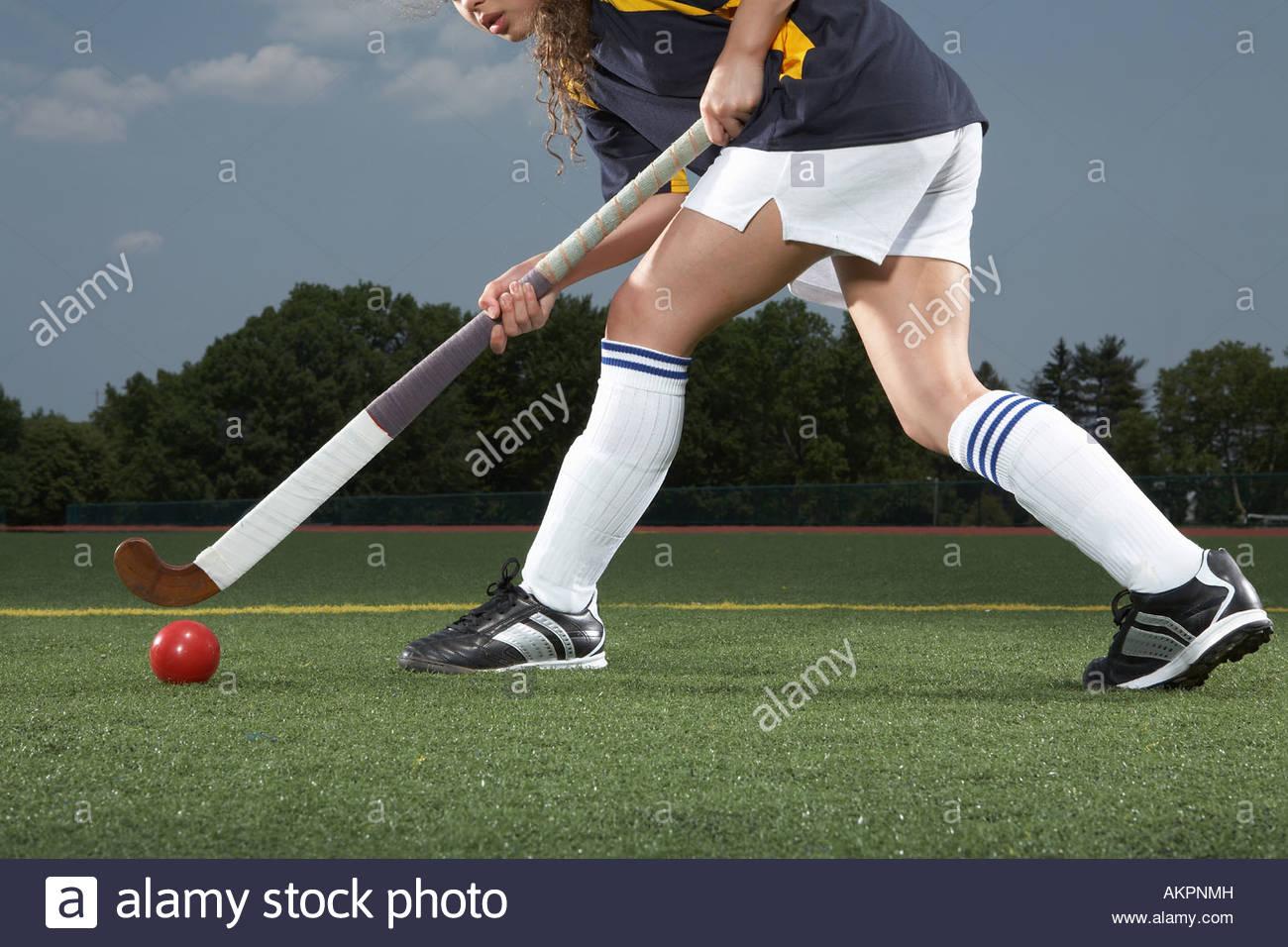 A hockey players legs - Stock Image