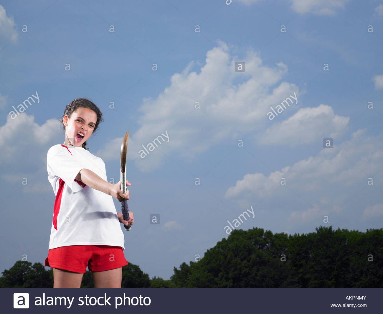 Portrait of a hockey player - Stock Image