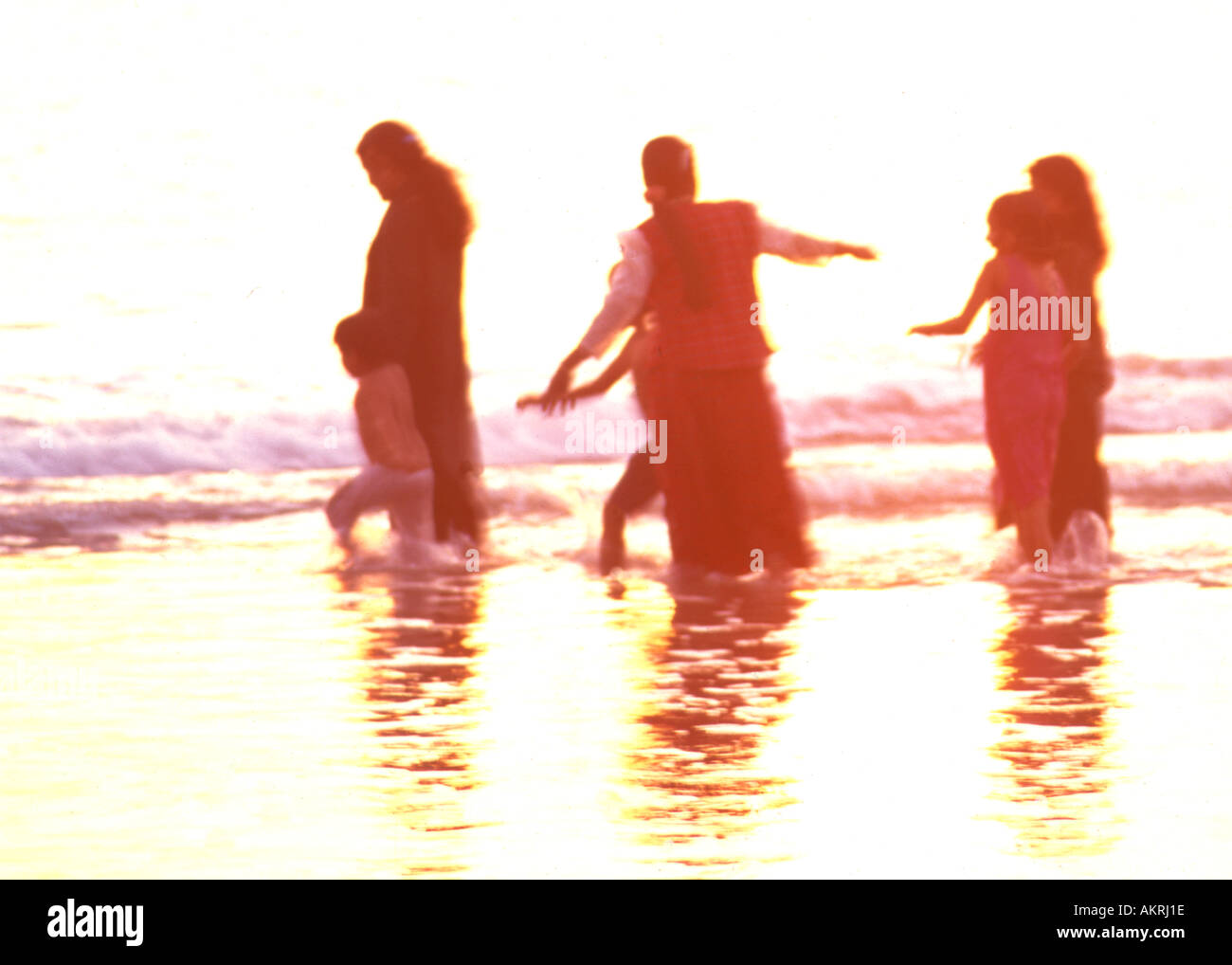 Kerala evening on shore of Arabian Sea - Stock Image