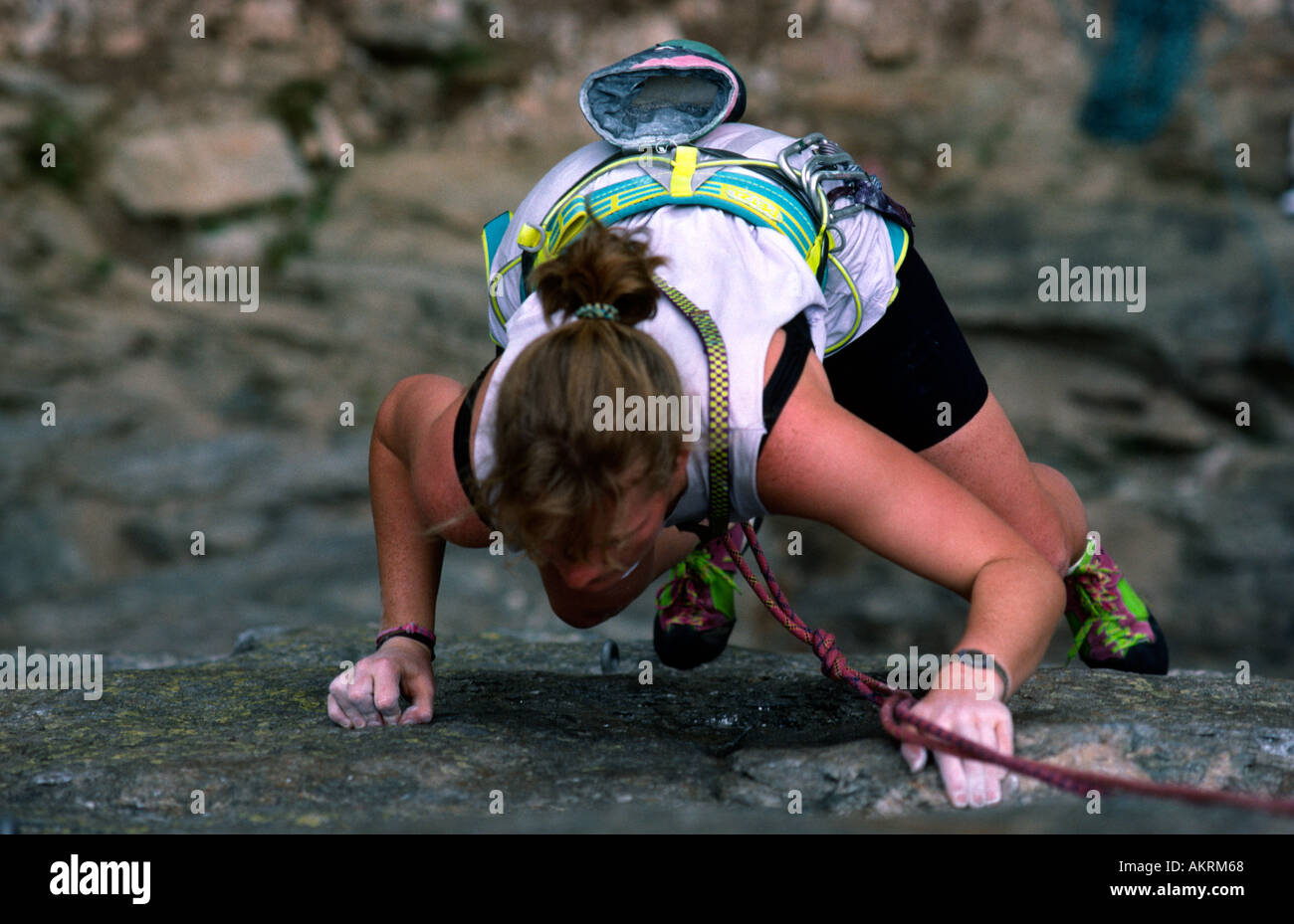 PICTURE CREDIT DOUG BLANE Woman rock climbing on a cliff in Chamonix Mont Blanc France - Stock Image