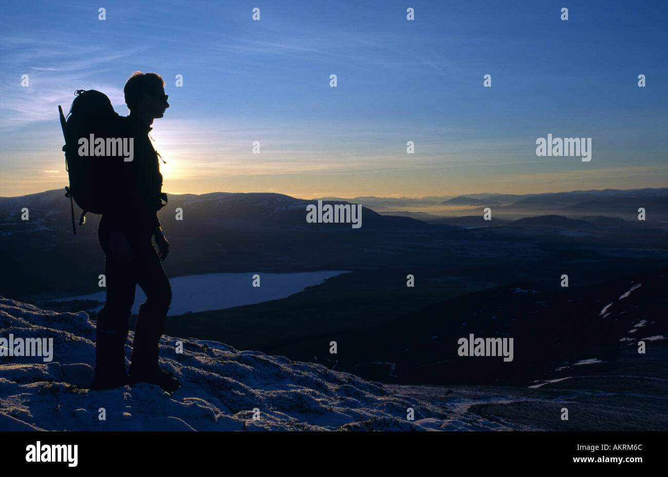 Dr Richard Spears on the summit of Meall a bhuachaille Glenmore Cairngorms National park Scotland Great Britain - Stock Image