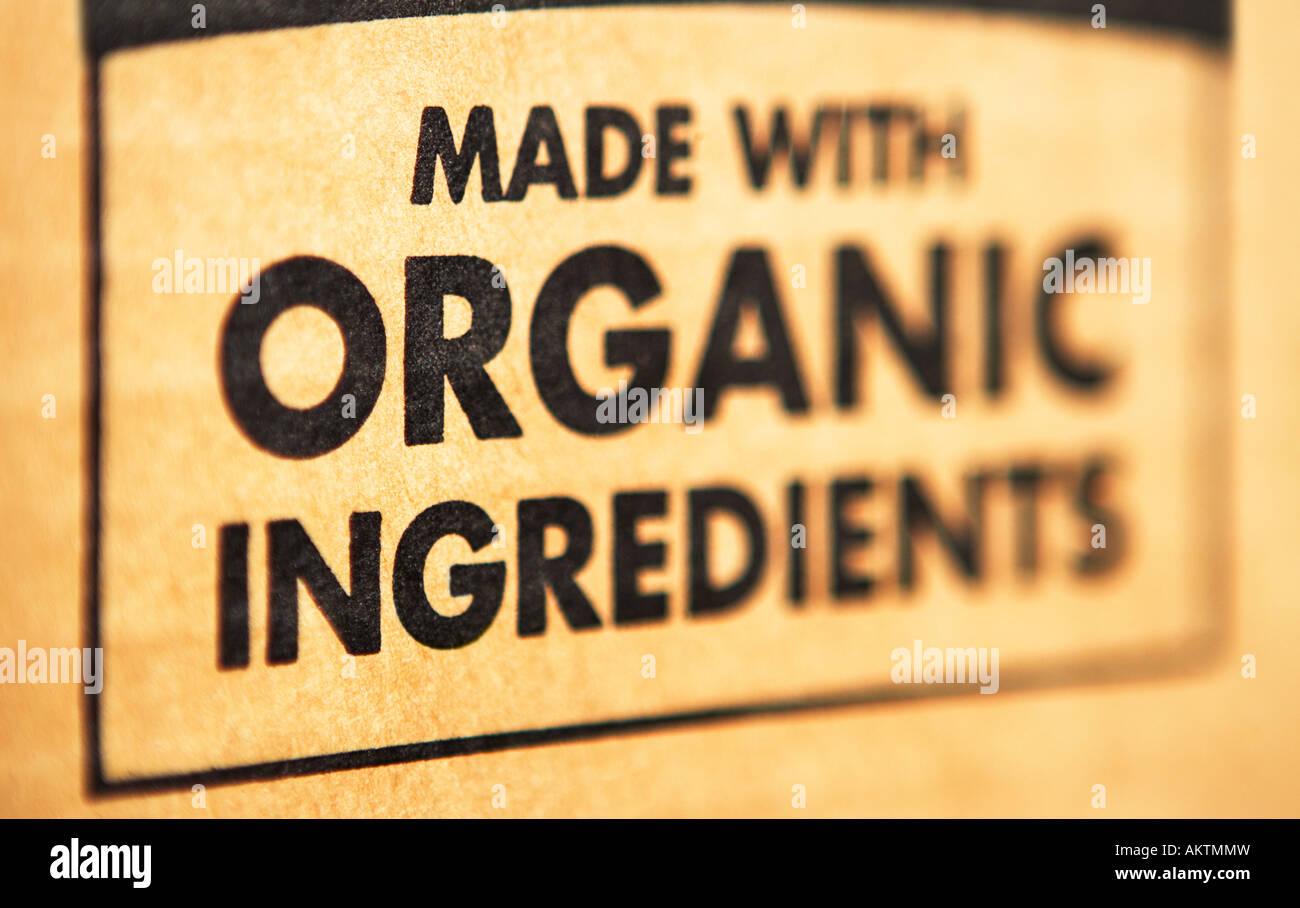 Organic ingredients label - Stock Image
