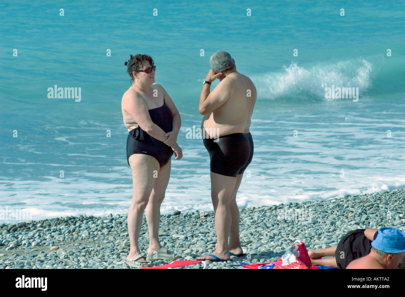 Nice France Beach Scene Mid Adult Overweight Couple Standing